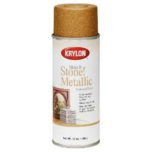 Krylon K08260 Make It Stone Metallic Textured Aerosol Spray Paint, 12