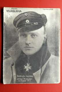 MANFRED VON RICHTHOFEN RED BARON COVER 1918 HU MAGAZINE WW1 LEGEND