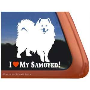 I Love My Samoyed Vinyl Window Dog Decal Sticker