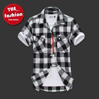 HOTMens Slim fit Stylish Dress Short Sleeve Plaid Shirts 4color 4size