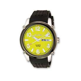 Croton Mens Yellow Dial Black Silicon Band Quartz Watch