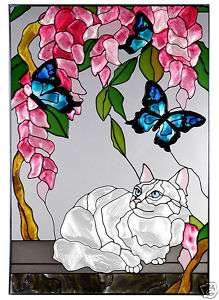 WHITE PERSIAN CAT Painted Glass Window 14x20 Suncatcher