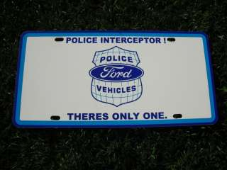 Police Ford Crown Victoria License Plate Cop Interceptor