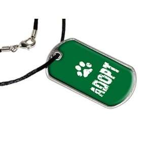 Adopt Paw Print   Animal   Military Dog Tag Black Satin