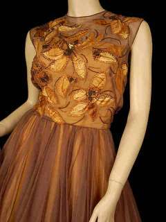Vintage Brown Silk Chiffon Beaded Cocktail Dress 1950S