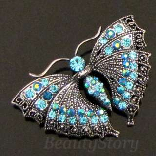 ADDL Item  Austrian crystals bouquet butterfly brooch
