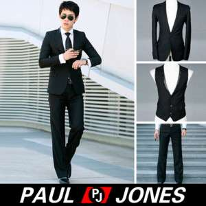 New Men's COOL slim fit wedding Dress Suit Black R9