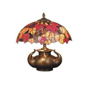 Table Lamp, Antique Bronze and Art Glass Shade