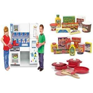 Kitchen Pretend Play Toy Complete Gift Set with Fridge Pantry Play