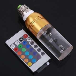 3W RGB 7 Colors E27 Wirless Remote Control Crystal LED Light Bulb