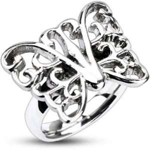 Womens Stainless Steel Ornamental Butterfly 18mm Cast Ring Jewelry