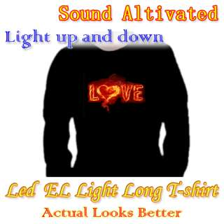 Music Sound Activated Up & Down LED Light EL Long Sleeve T Shirt Love