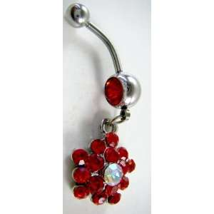 Red Crystal CZ Dangle Belly Button Navel Ring Bar Silver