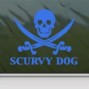 Scurvy Dog Skull Blue Decal Car Truck Window Blue Sticker