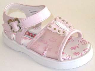 Girls Toddlers Pink & White Sandals Shoe Butterfly Studs Velcro 5   10