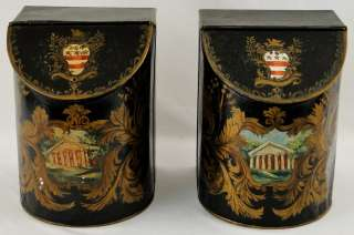 Pr Antique 19th C. Tin Folk Art Decorated Toleware Tea Box Boxes
