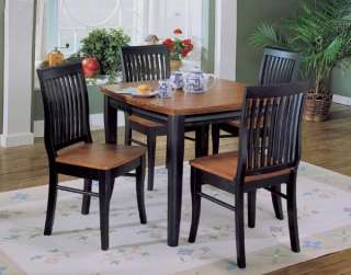 ANTIQUE BLACK & CHERRY WOOD BISTRO 5PC DINING TABLE SET