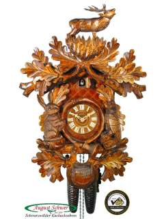 Black Forest Cuckoo Clock 8 Day Carving The Stag NEW