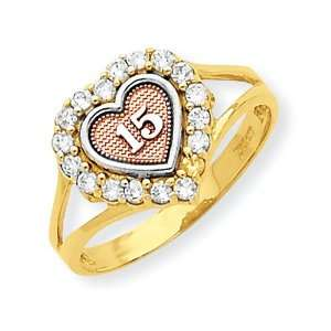 10k Two tone Sweet 15 Heart Ring Jewelry