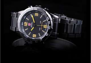 Shark LED Quartz Digital Date Day Men Luxury Fashion Sport Stainless
