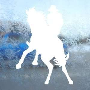 Western HORSE AND RIDER White Decal Cowboy Window White