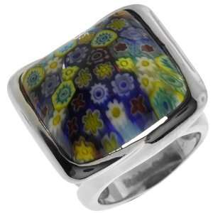 Jewelry Womens Murano Glass Square 316L Stainless Steel Ring Jewelry