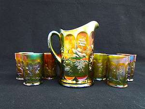 Singing Birds Water Set Green Carnival Glass Super Pretty