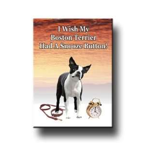 Boston Terrier Snooze Alarm Fridge Magnet