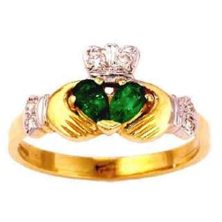 14k Yellow Gold Claddagh Emerald Diamond Claddagh Ring
