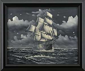 Old Sail Ship Sailing Ocean Sea Boat Art FRAMED OIL PAINTING