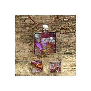 NOVICA Dichroic art glass jewelry set, Rose Garden Jewelry