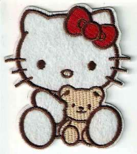 Hello Kitty holding teddy bear red bow Iron On Patch