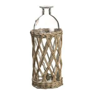 4.3dx11h Willow Basket W/Glass Vase Gray (Pack of 6