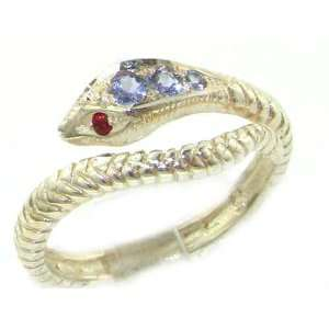 Fabulous Solid Yellow Gold Natural Tanzanite & Ruby Detailed Snake