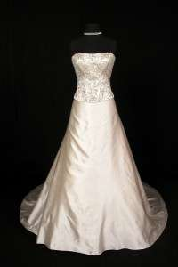 Ivory Silk Satin Strapless Couture Bridal Wedding Dress Gown