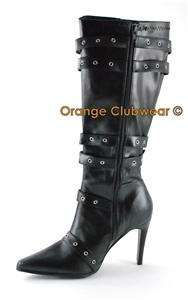 PLEASER WIDE WIDTH Womens Black Knee High Costume Boots