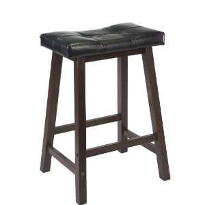 Winsome Mona 24 Inch Cushion Saddle Seat Stool, Black Faux