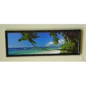 Bamboo Framed Palm Tree Glass Wall Art Picture