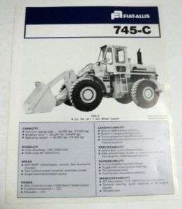 Fiat Allis 1977 745 C Wheel Loader Sales Brochure