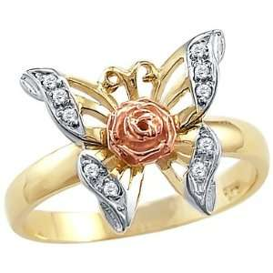 Size  13   Solid 14k Yellow Rose Two Tone Gold Butterfly