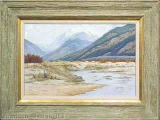 River, Original oil Painting Western mountain Art Artwork OBO