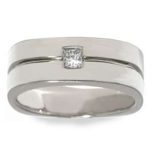 GOLDMAN Mens 1/4 Carat Diamond 14k White Gold Eternity Wedding Ring
