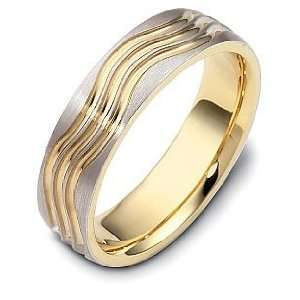 Designer 14 Karat Two Tone Gold Wave Style Unique Wedding
