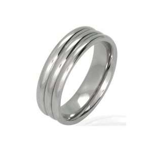 Bling Jewelry Stainless Steel Ring Unisex Triple Grooves Band Size 8
