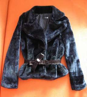Womens Elegant Warm Faux Fur Coats Bowknot Belted Jackets Outerwear