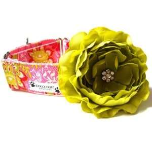 Pink and Green Floral 1.5 Martingale Dog Collars