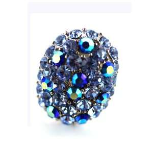 Silver Plated Oval Sparkle Light Blue Gem Ring Jewelry