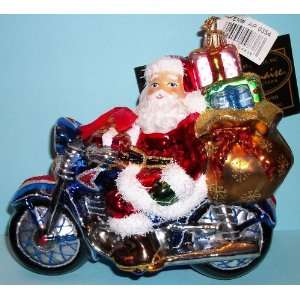 Kurt Adler Polonaise Ornament Santa Claus on Motorcycle