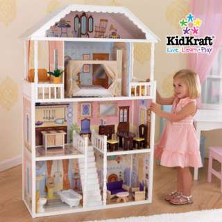 KidKraft Savannah Girls Pretend Play Wood Toy Dollhouse 706943650233