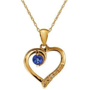 Blue Sapphire and White Diamond 14k Yellow Gold Heart Shape Pendant